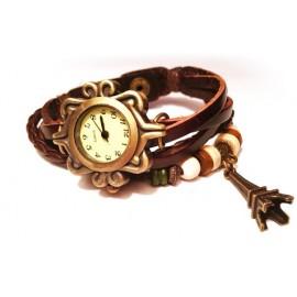 Женские винтажные часы кожаный браслет с часами Эйфелева Башня
