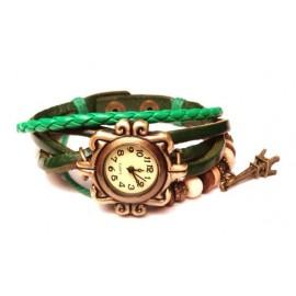 Женские винтажные часы кожаный браслет с часами Париж зеленый