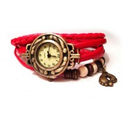 Женские винтажные часы кожаный браслет с часами Ретро красный
