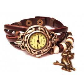 Женские винтажные часы кожаный браслет с часами Сова коричневый