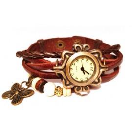 Женские винтажные часы кожаный браслет с часами Бабочка коричневый
