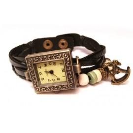 Женские винтажные часы кожаный браслет с часами Лошадка черный