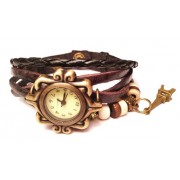 Женские винтажные часы кожаный браслет с часами Париж коричневый