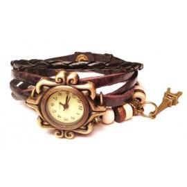 Женские винтажные часы кожаный браслет с часами Париж черный