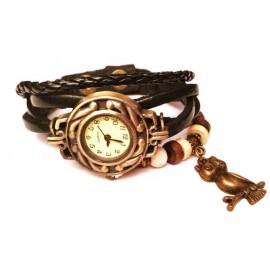 Женские винтажные часы кожаный браслет с часами Сова черный