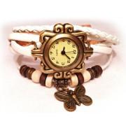 Женские винтажные часы кожаный браслет с часами Бабочка белый
