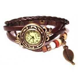 Женские винтажные часы кожаный браслет с часами Листик коричневый