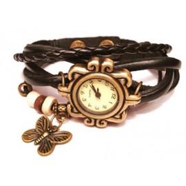 Женские винтажные часы кожаный браслет с часами Бабочка черный