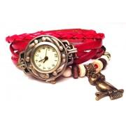Женские винтажные часы кожаный браслет с часами Сова красный