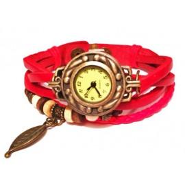 Женские винтажные часы кожаный браслет с часами Листик красный
