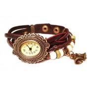 Женские винтажные часы кожаный браслет с часами Колокольчики