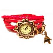 Женские винтажные часы кожаный браслет с часами Париж красный